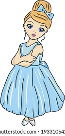 Color vector illustration: Cute Barbara in a sky blue dress For cutting and decoration. Toping on the cake. Floral topping. Hero for the postcard. T-shirt print. Cute Notebook Stickers