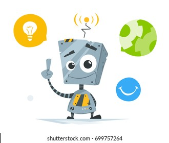 Color vector illustration of cute little robot