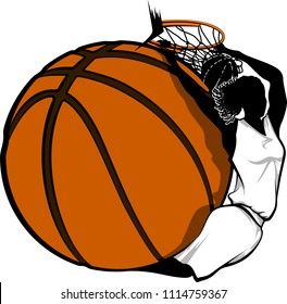 Color vector illustration of a female basketball player dunking swooped around a basketball.