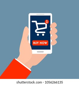 """Color vector illustration. Hands holding a phone. There is online-shopping and button """"buy now"""""""
