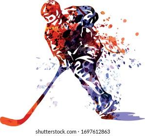 Vektorillustration-Farbbild des Hockeyspielers