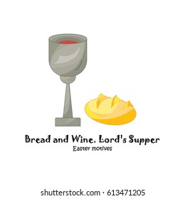 Color vector illustration. Lord's Supper, communion, Bread and Wine