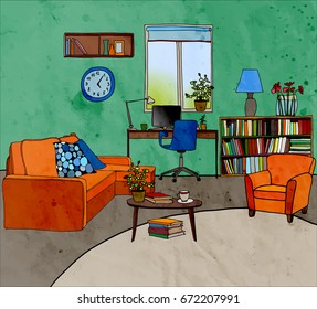 Color vector illustration of modern living room with furniture: table, bookshelf, sofa, armchair, desk with notebook, window, pots, clock. Watercolor texture.