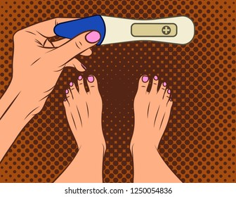 Color vector illustration of pop art comic style. A girl makes a pregnancy test. A girl with a positive pregnancy test result. Female hand holds test.  Top view