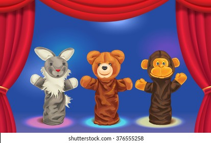 Color vector illustration of puppet theater. Dolls on stage