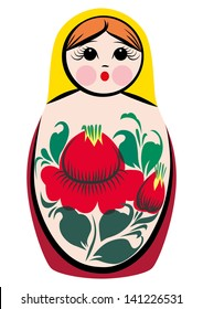A color vector illustration of a Russian traditional doll/souvenir - matryoshka, also known as Russian nesting/nested dolls.