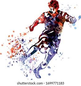 Farbige Vektorillustration eines Fußballspielers