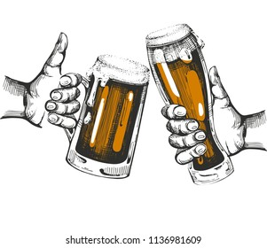 Color vector illustration with two hands with beer glasses.