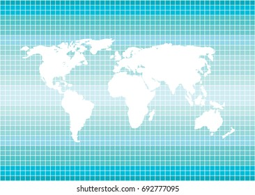 color vector illustration with world map silhouette isolated on blue squares background