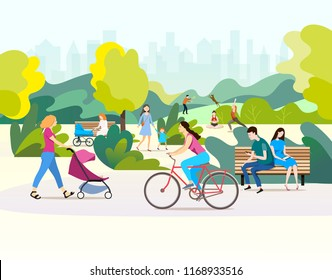 Color vector illustration.People  talking and walking in a beautiful urban public park.