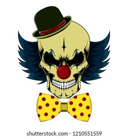 Color vector image of a clown skull.