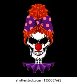 Color vector image of a clown's skull with red hair and a bow. Image of a female clown skull on a black background.