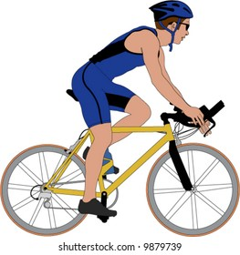 Color vector image of a competitive cyclist.