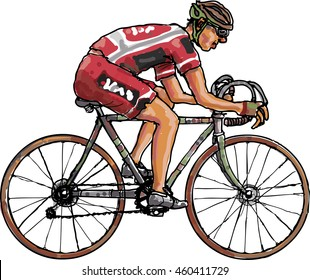 Color vector image of a cyclist