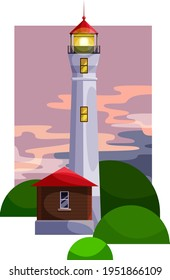 Color vector image. Lighthouse with a house. against the sky. At sunset.