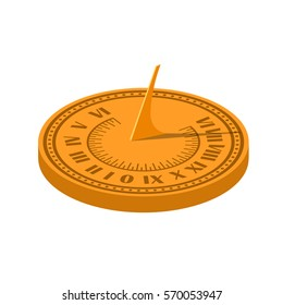Color vector image of a sundial on a white background. Sundial in Flete Cartoon style. Stock vector illustration