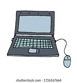 color vector isolated element in doodle style, laptop for work at home