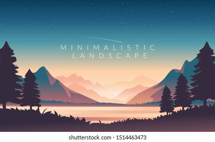 Color vector mountains with fog. Minimalistic vector landscape for your design. Magical hill silhouette background.