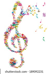 color vector music treble and notes isolated on white background