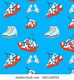 Color vector pattern from rowan and the ice skates and mitten