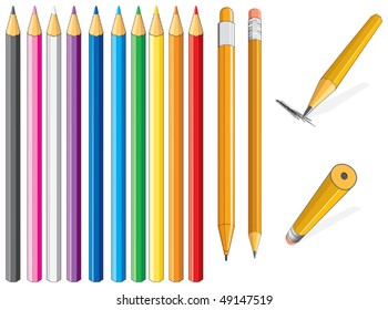 Color vector pencil- only flat colors without gradients easy editable