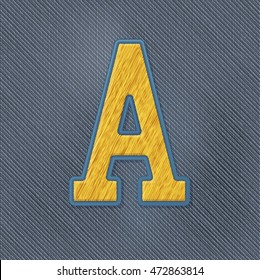 Color Vector Realistic Embroidery Patch Alphabet. Editable Colors. Letter A