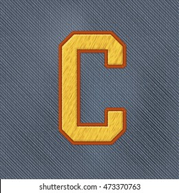 Color Vector Realistic Embroidery Patch Alphabet. Editable Colors. Letter C