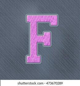 Color Vector Realistic Embroidery Patch Alphabet. Editable Colors. Letter F
