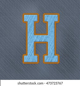 Color Vector Realistic Embroidery Patch Alphabet. Editable Colors. Letter H