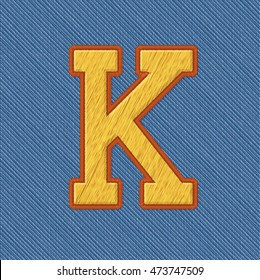 Color Vector Realistic Embroidery Patch Alphabet. Editable Colors. Letter K