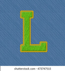 Color Vector Realistic Embroidery Patch Alphabet. Editable Colors. Letter L