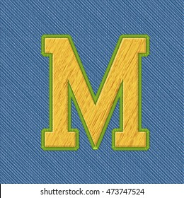 Color Vector Realistic Embroidery Patch Alphabet. Editable Colors. Letter M