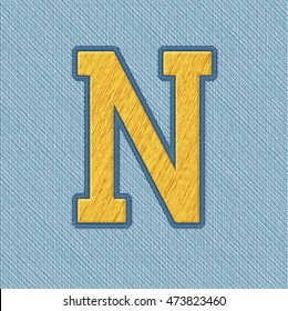 Color Vector Realistic Embroidery Patch Alphabet. Editable Colors. Letter N