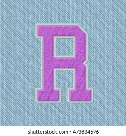 Color Vector Realistic Embroidery Patch Alphabet. Editable Colors. Letter R