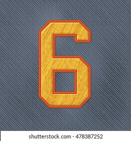 Color Vector Realistic Embroidery Patch Numbers. Editable Colors. Number 6