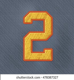 Color Vector Realistic Embroidery Patch Numbers. Editable Colors. Number 2