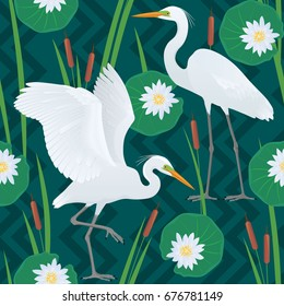 Color vector seamless pattern with detailed drawing of two Great Egrets, isolated on dark green background of geometric ornaments, canes and flowers and leaves of a water lily.