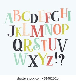 Color vector serif English alphabet in vintage style.