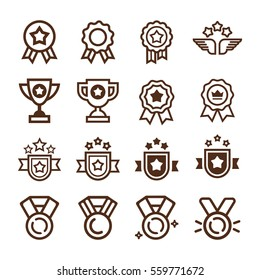Color Vector set of Champions trophy award icons. Vector elements on white background, easy to edit. Icons set for web.