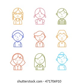 Color vector set of different nationality kids avatar icon. Thin line design style. Girls and boys portraits for web.