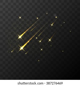 Color vector shooting stars falling stars meteor and comet on transparent plaid background. Fall star in space, fantasy science in cosmos, asteroid color in galaxy