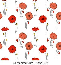 color vector simple  illustration of decorative poppy flower seamless  pattern on white background
