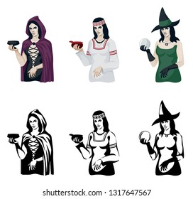color vector stylized illustration-a set of witches in ethnic clothes of Eastern and Western Europe