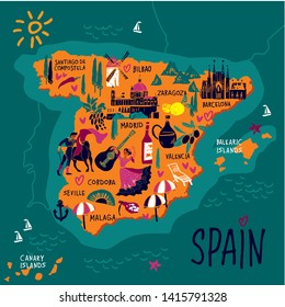 Travel Map Of Spain.Spain Map Cartoon Images Stock Photos Vectors Shutterstock