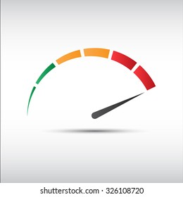 Color vector tachometer,  speedometer icon, performance measurement symbol
