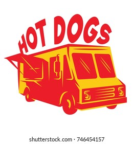 color vector template van for delivery hot dog.