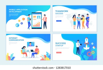 Color vector templates for web design. People working process, teamwork communication, internet connection, startup project and mobile technology