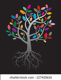 color vector tree and roots
