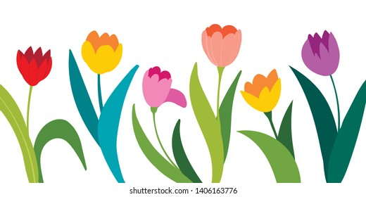 Color vector tulips isolated on white background. Flowers in different shapes for your design and greetings, postcards card for your loved ones. Spring landscape of illustrations.