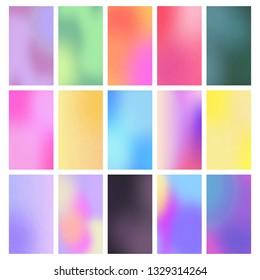 Color vertical gradient backgrounds. Soft multicolored gradients. Vector set